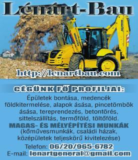 Építési munkák, Teherfuvarozás, Autómentés, Gépszállítás - Lénárt Bau